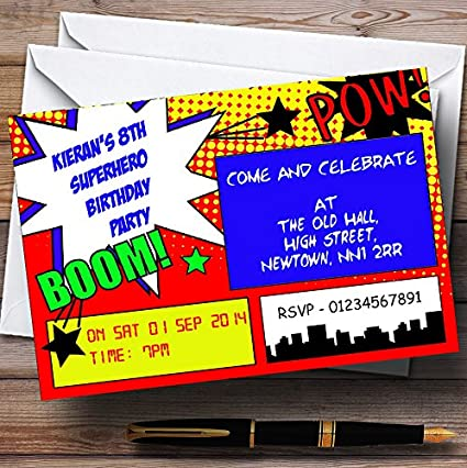 Amazon vintage comic superhero theme personalized birthday vintage comic superhero theme personalized birthday party invitations filmwisefo