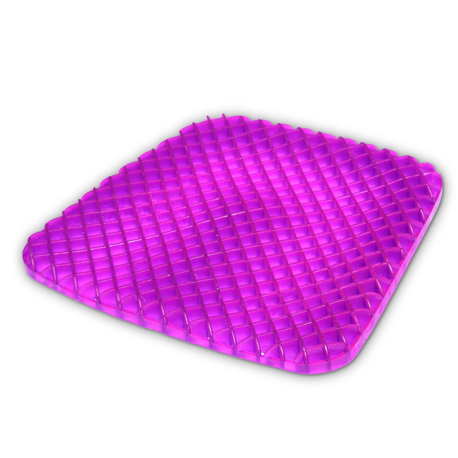 Gel Seat Cushion Comfort Purple Honeycomb Egg Crate Design Gel Pad Provides Excellent Support For Lower Back, Spine, Hips Promotes Venting & Good Sitting Posture For Office Chair Car Sitter Wheelchair
