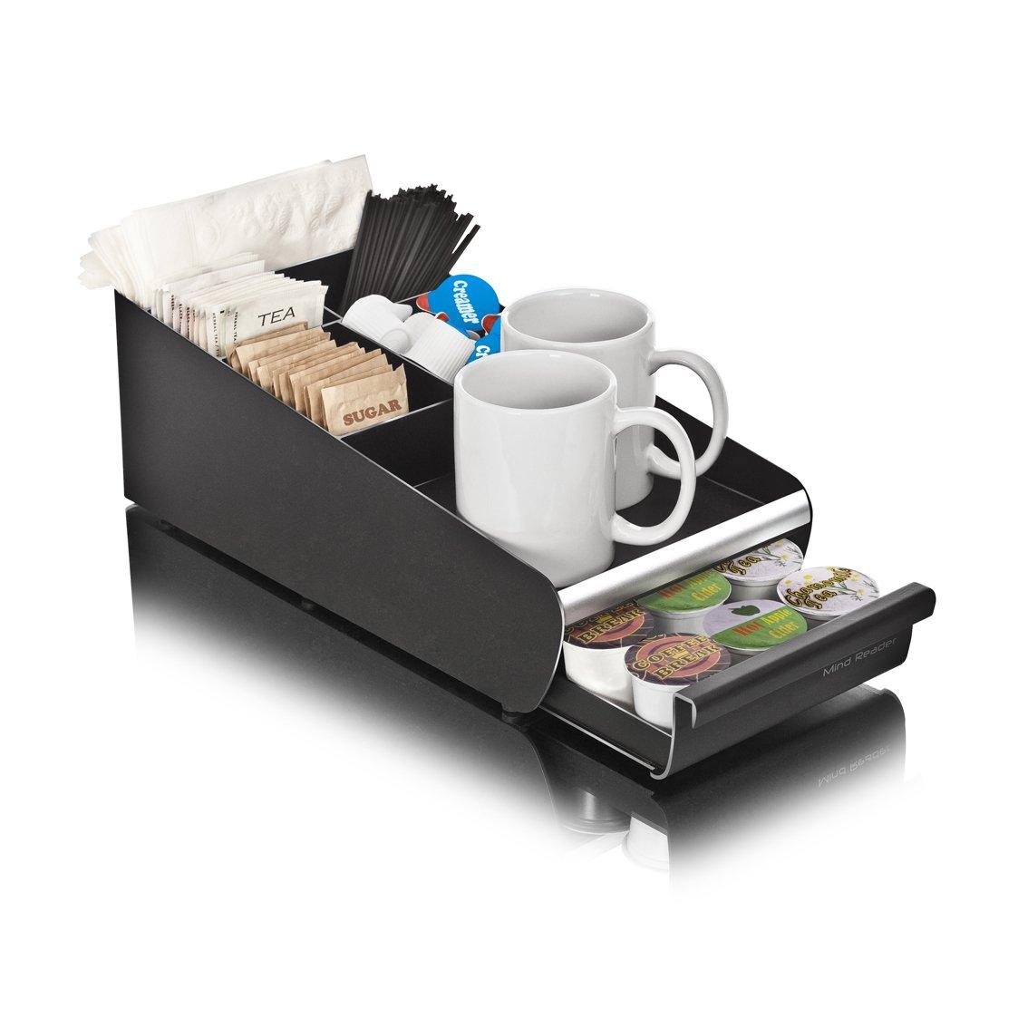 Mind Reader Coffee Condiment Storage Organizer with K-Cup Single Serve Coffee Pod Drawer, Black