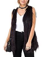 Simplee Apparel Women's Soft Sleeveless Faux Fur Vest Coat Waistcoat Jacket