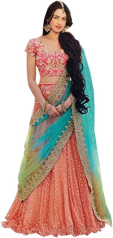 Indian Pakistani Dress Peach and multicolored lehenga blouse lehnga choli