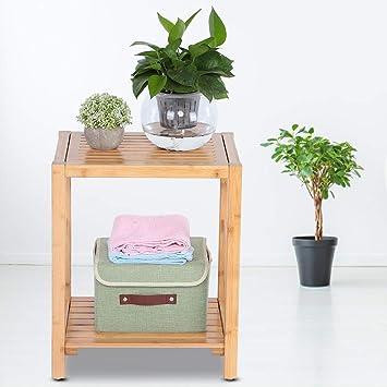 con ripiano portaoggetti 42 x 32 x 50,5 cm bagno sgabello da bagno spa per bagno Cikonielf antiscivolo Sedia da doccia in bamb/ù naturale