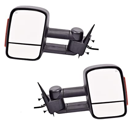 DEDC Tow Mirrors For Silverado 1500 Tow Mirrors For Silverado 2500 Towing  Mirrors Power Heated With Signal Lights Foldable Pair For 2003-2006 Chevy