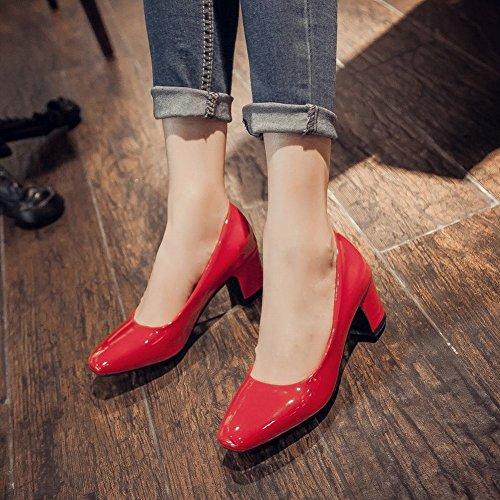 MissSaSa Damen Chunky heel Low-cut Lackleder Pumps mit Blockabsatz Rot