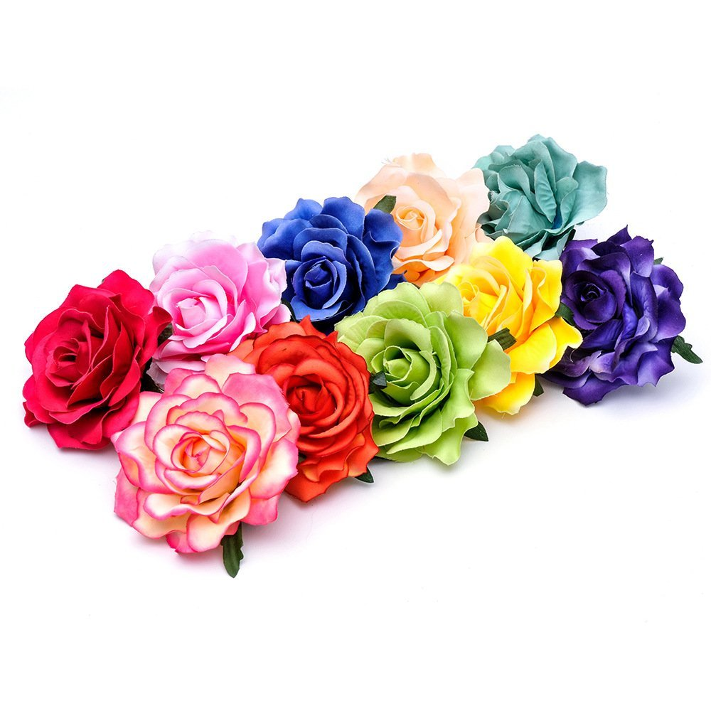 Ever Fairy Rose Flower Hair Clip Slide Flamenco Dancer Pin up Flower Brooch(10 pack)(10 Color Pack C)