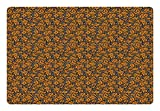 Ambesonne Abstract Pet Mat for Food and Water, Butterfly Wing Inspired Pattern Primitive Camouflage Style Simple, Rectangle Non-Slip Rubber Mat for Dogs and Cats, Black Orange and White