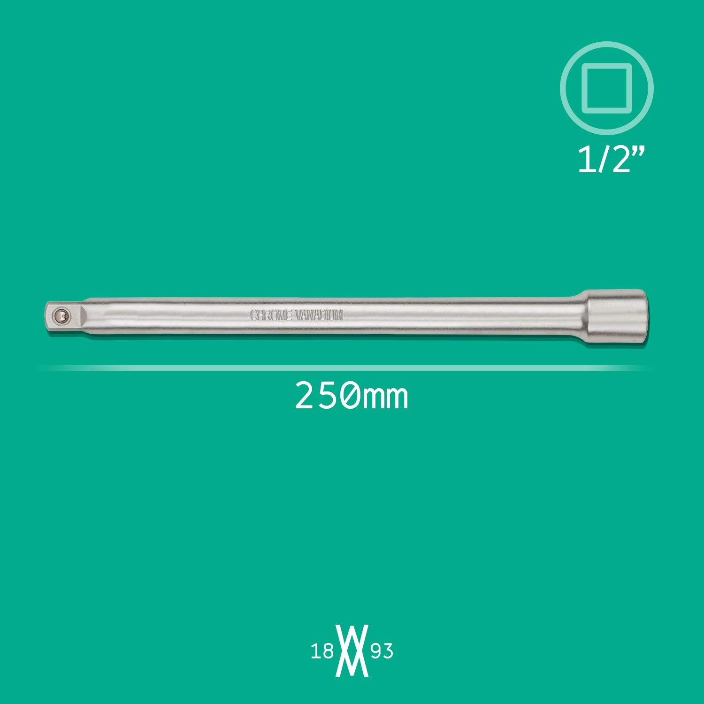   80867 Para Adaptador macho de 12,5 mm 1//2 Barra de extensi/ón de 250 mm para llave de carraca y vasos de 1//2 de Acero al cromo vanadio de WIESEMANN 1893