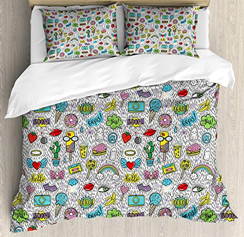 TAOGAN Emoji Quilt Bedding Sets, Pop Art Hand Drawn Cartoon Style Eye Ice Cream Rainbow Donut Lip Heart Banana Ghost, 3 Piece Duvet Cover Set for Childrens/Kids/Teens/Adults, Multicolor,Full Size -