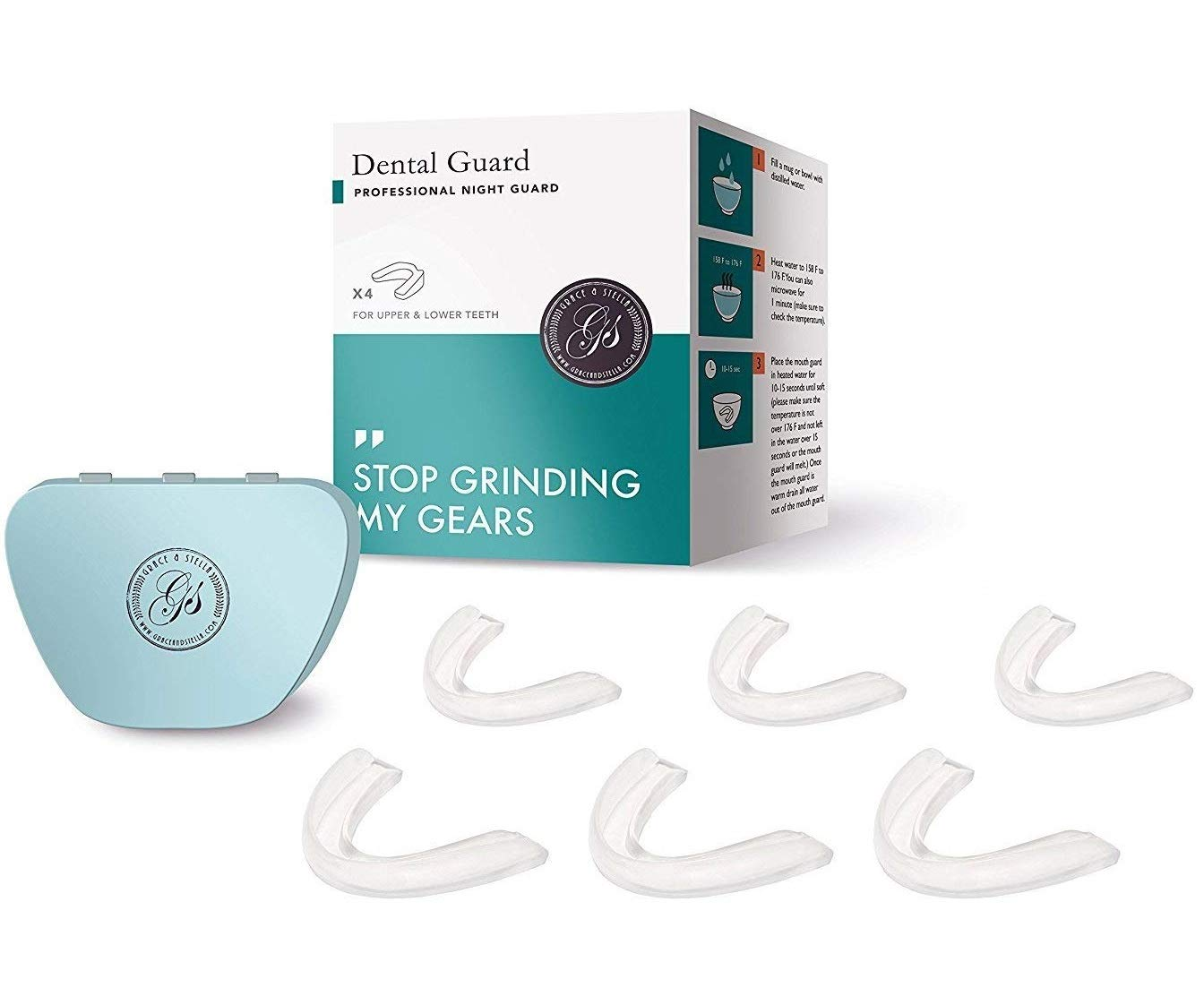 *Upgraded* Teeth Grinding Mouth Guard (Pack of 6) Professional Dental Care - Stops Teeth Grinding, Bruxism & Eliminates Teeth Clenching. Includes Fitting Instructions & Anti-Bacterial Case. 100% Satisfaction Guaranteed **As seen on Dragons Den** Gr