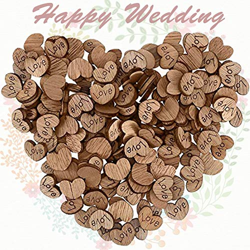 (100PCS Rustic Wooden Love Heart with Love Pattern for Wedding Party Table Scatter Decoration Crafts Children's DIY Manual)