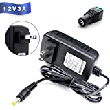 Power Supply Adaptor 12V 3A, 110-240V to 12V Universal Wall Mounted Switching Power Supply, 5 x 2.5mm DC Jack Adaptor Supply for LED Strip Lights