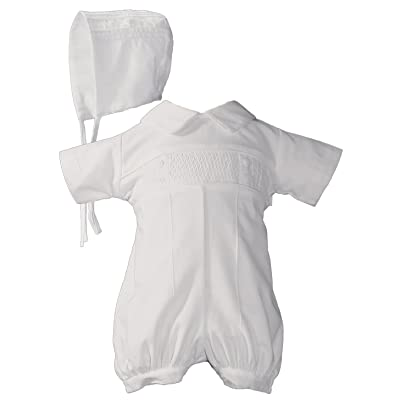Baby Boys White Cotton Smocked Baptism Outfit Set 6 Month