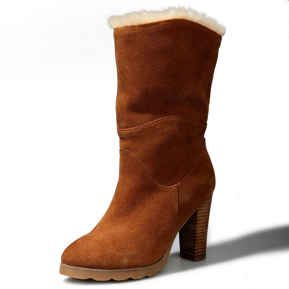 Oppicong Sneakers Womens Leather Waterproof-Heel Tall Angel Boots 8256 in Winter Comfortable