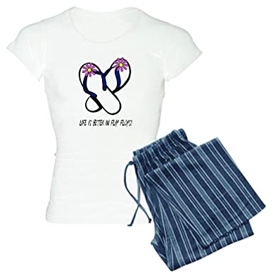 Image Unavailable. Image not available for. Color  CafePress - Flip Flop  Flowers Purple - Women s Light Pajamas ... 57cdb8873