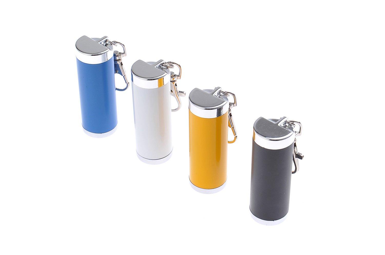 Mini cendrier//Cendrier de Poche//Cendrier Portable en Forme dun Cylindre 021-03 Fait en Alliage de Zinc de Couleur Jaune avec Un Mousqueton