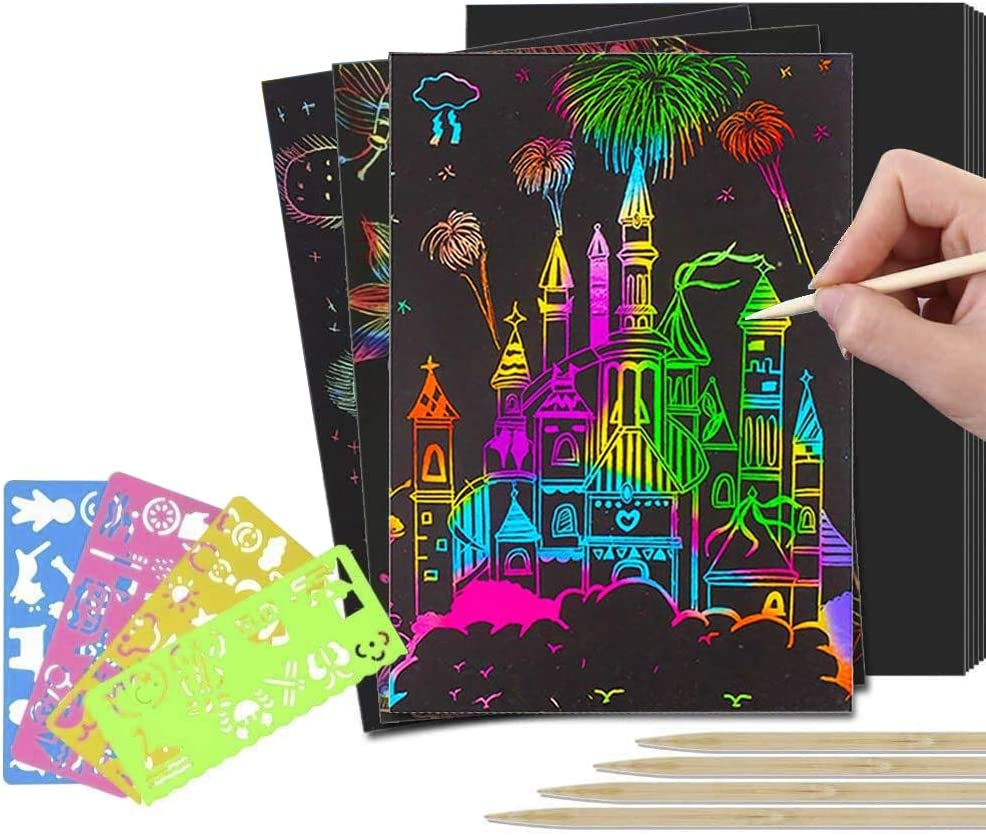 KEOC Scratch Paper Art Set for Kids-Rainbow Magic Scratch Off Arts and Crafts Supplies Kits Sheet Pack for Children Girls Boys Birthday Game Party Favor Christmas Easter Craft Gifts