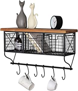 Industrial Wall Mounted Metal Wood Shelf with Baskets Hooks Hanging Storage Rack Display Shelf Sundries Holder for Coffee Bar Kitchen Office Bathroom Organization and Home Decor, Black