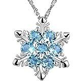 Leisial™ Nuovo Fiocco di Neve di Stile ha Modellato il Regalo di Natale di Anniversario dei Pendenti della Collana di Cristallo (Blu) (A)