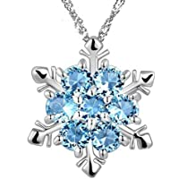 Hosaire Silver Crystal Snowflake Pendant Necklace Plated with Rhinestones and Decorated with Crystal for Women Christmas Gift