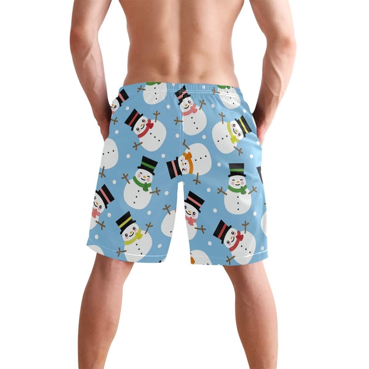 JERECY Mens Swim Trunks Winter Snowman Pattern Quick Dry Board Shorts with Drawstring and Pockets