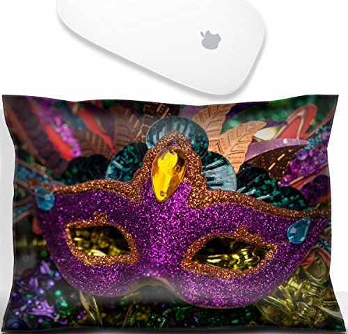Luxlady Mouse Wrist Rest Office Decor Wrist Supporter Pillow Close up view of purple sequined Mardi Gras mask with colorful beads out focus in the background.IMAGE: - Mask Sequined