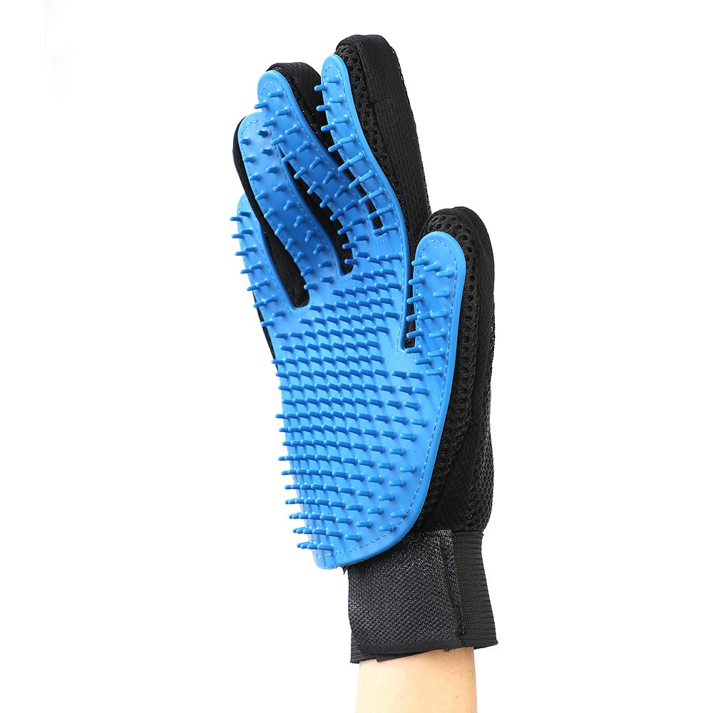 ALFLAND 【Renew Version】 Pet Grooming Glove   Gentle Deshedding Brush Glove for Shedding, Massaging and Hair Removal - Perfect for Dogs, Cats & Horses with Long & Short Fur   A Pair