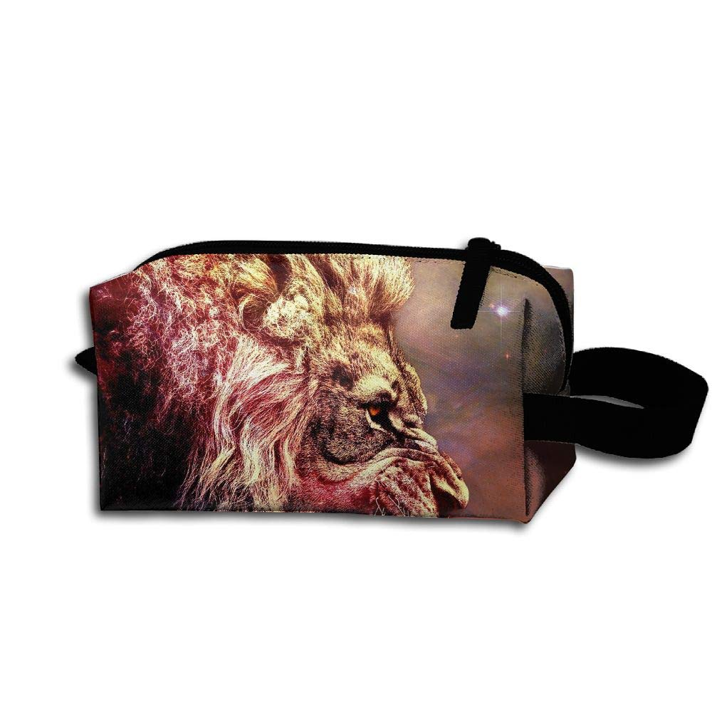 Makeup Cosmetic Bag Space Stars Animals Lions Medicine Bag Zip Travel Portable Storage Pouch For Mens Womens