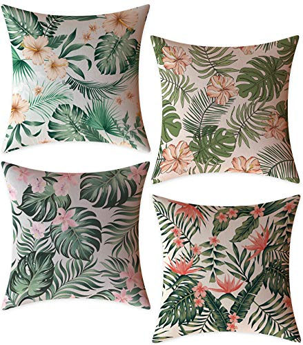 FeelAtHome Throw Pillow Covers Cases 18 x 18 Inches Set of 4 (Tropical Forest) - Cozy Decorative Throw Pillow Cases for Home, Couch, Sofa, Bed - 4PCS Zip Accent Pillow Cover 100% Quality Linen Fabric (Throws Tropical)
