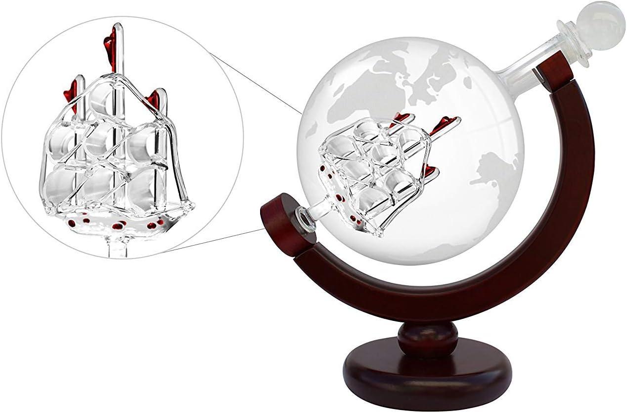 Party B/üro Familie kangOnline Ge/ätzter Globus Design Dekanter mit graviertem Kugelglas f/ür Lik/ör Bourbon Caf/é Whiskey Zuhause Freunde