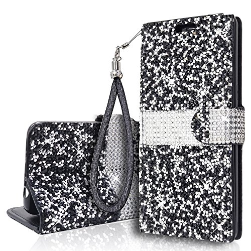 Glitter Bling Wristlet Wallet Case for Samsung Galaxy S10e(5.8 Inch) Lanyard Stand Shiny Sparkle Crystal Stars Flip Card Slot Luxury Girl Women Phone Cover for Galaxys10e (Black) ()