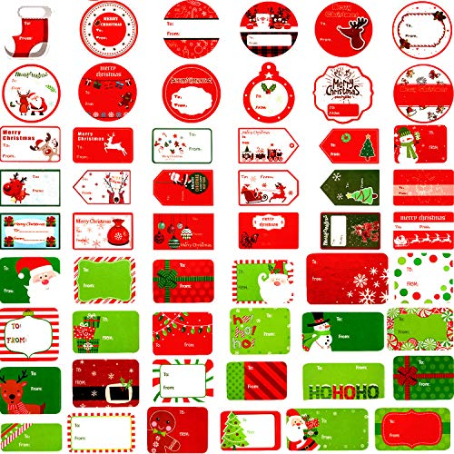 Gejoy 160 Pieces Self Adhesive Christmas Stickers Gift Tag Label Wrap Tags for Christmas Birthday Wedding Holiday Decorative Presents Labels Decals Christmas Gift (Assorted Designs)