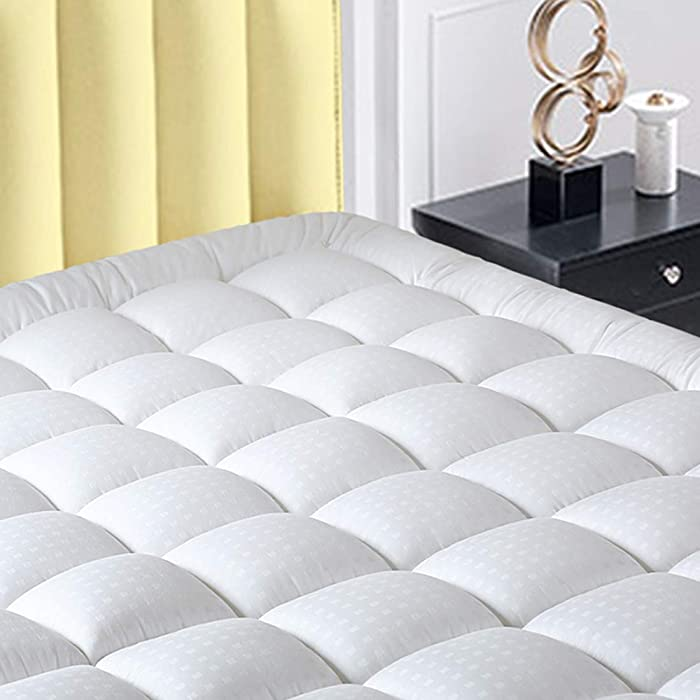 """INGALIK California King Size Mattress Pad Cover Pillow Top Deep Pocket Fits Up to 8""""-21"""" Fitted Mattress Topper Snow Down Alternative Mattress Cover Cooling Bed Topper Cal King"""