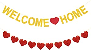 Welcome Home Banner Gold Glitter Welcome Home Decorations for Welcome Home Party Decorations, Welcome Home Sign