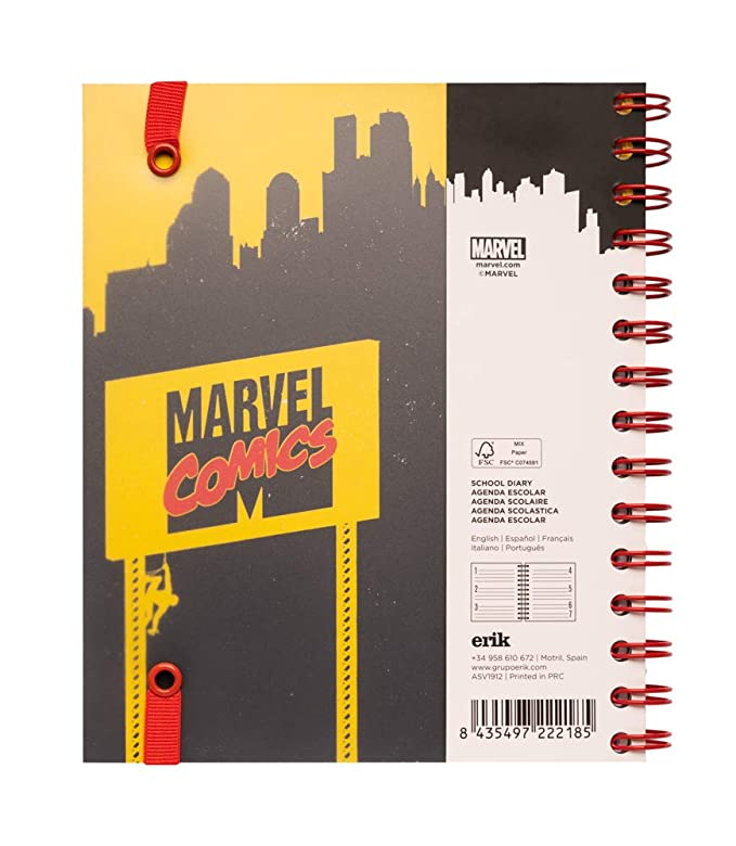 Agenda escolar 2019/2020 semana vista Marvel