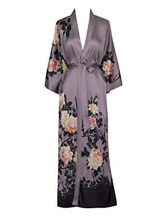 Old Shanghai Women s Kimono Robe Long - Watercolor Floral ab6105e35