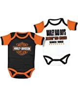 Harley-Davidson Baby Boys' Cradle Creeper Set, 2 Pack, White/Black 3050551