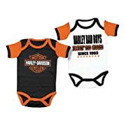 Harley-Davidson Baby Boys' Cradle Creeper Set, 2 Pk, White/Black 3050551 (3/6M)