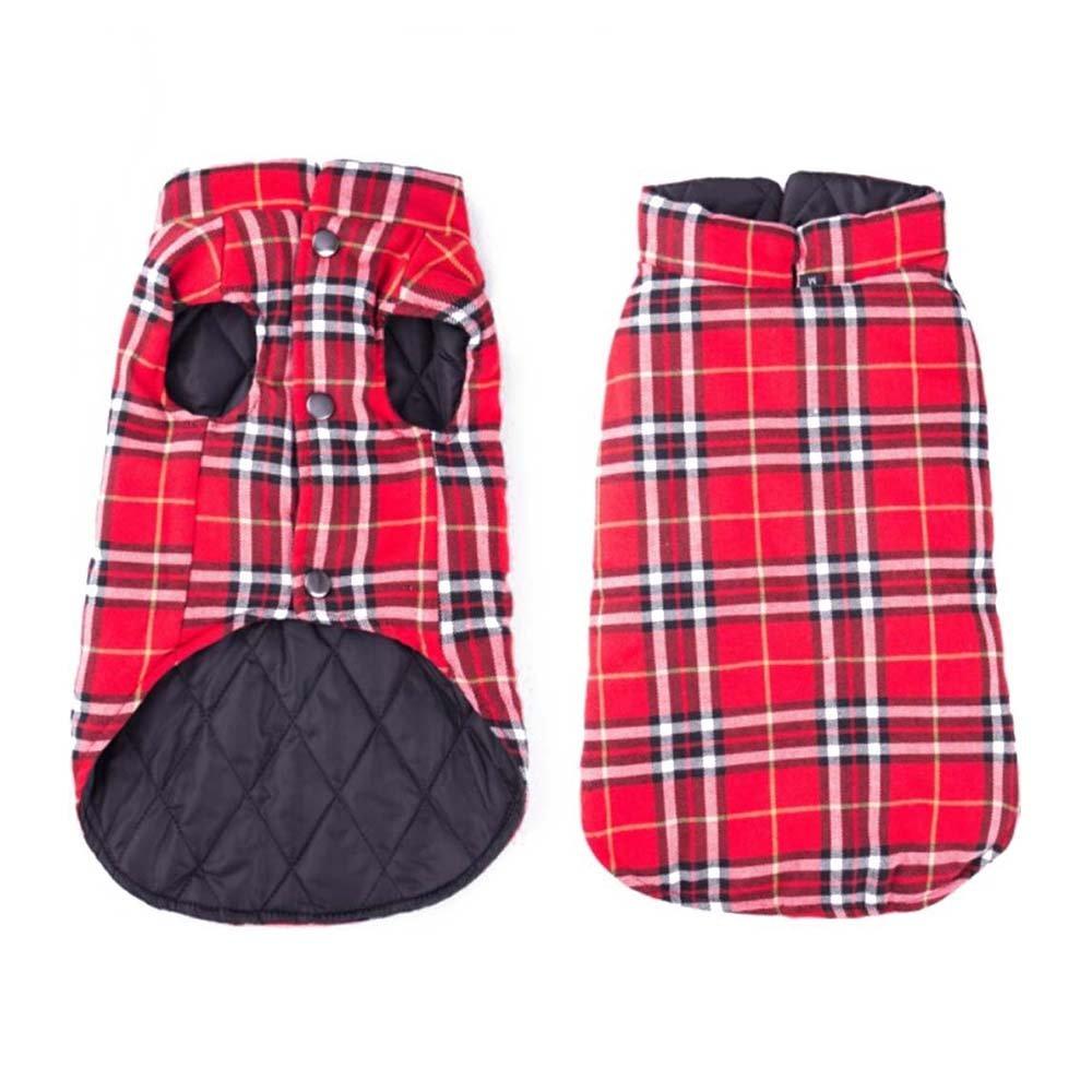 LANDGOO Dog Jacket Reversible Wearable Plaid Vest Waterproof Dog Coat Pet Winter Warm Clothes