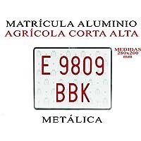MOTOR TYRES 1 MATRICULA Aluminio Metalica AGRICOLA Corta