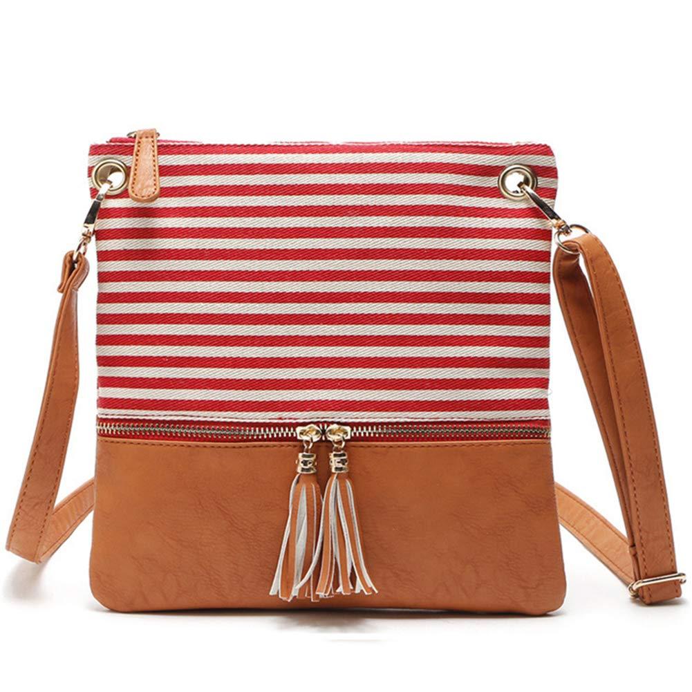 871ff4dbd1 Amazon.com  OURBAG Women Canvas Stripe Stitching Crossbody Bag Tassel  Leisure Shoulder Bag Red  Drseewd