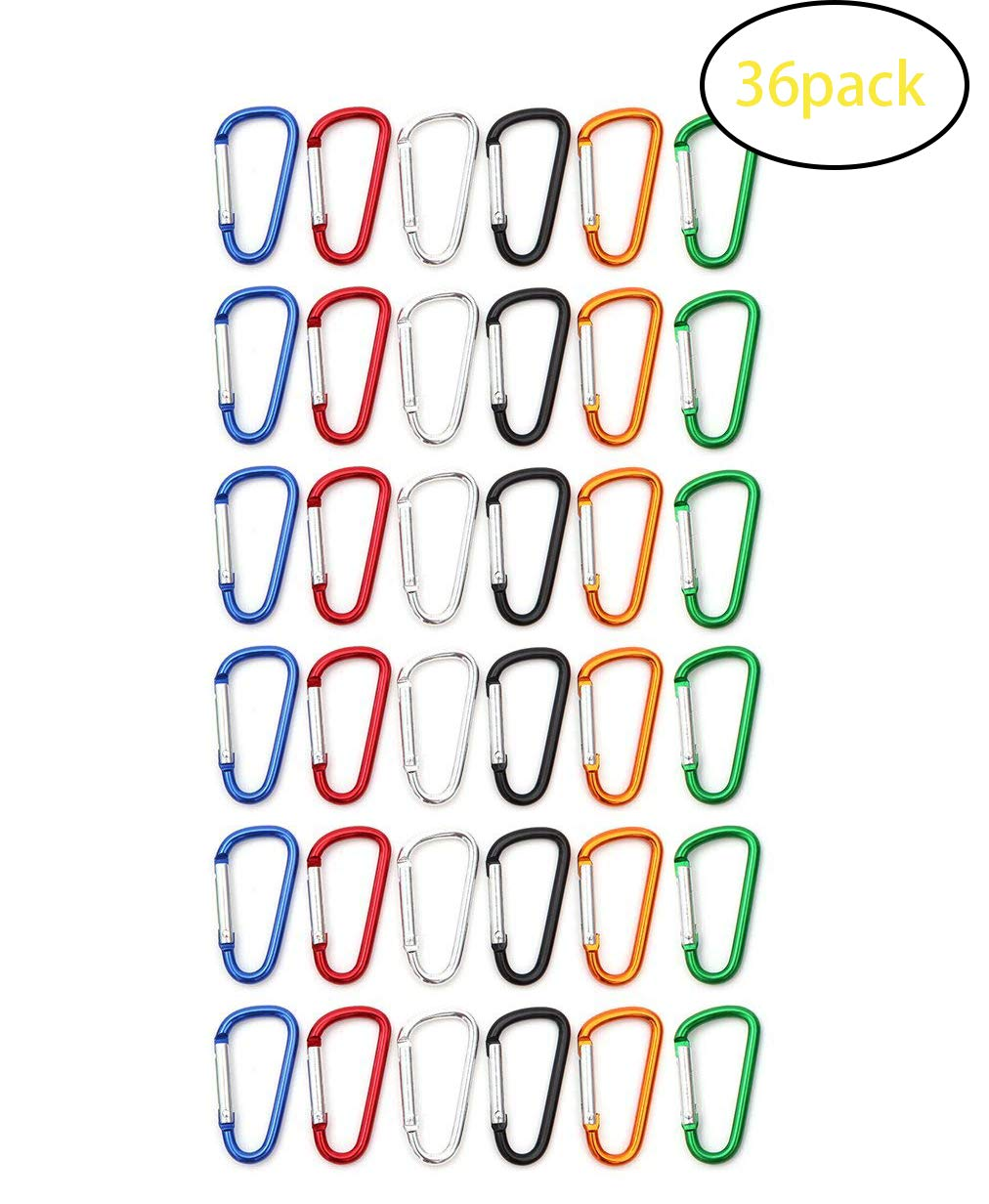 SBYURE Pack of 36 Aluminum D-Ring Spring Loaded, Small Keychain Carabiner Clip, Mini Lock Snap Hooks for Outdoor Camping, Travling and Camping, Assorted Colors