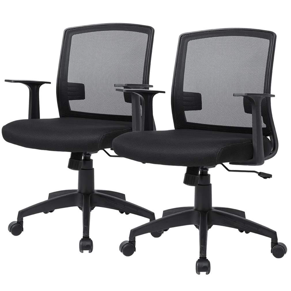 MR Direct Set of 2 Swivel Computer Desk Task Chair Ergonomic Mid Back Mesh Office Chair
