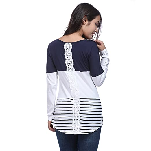 7b9c21ad10 YJQ Women's Lace Back Long Sleeve Color Block Stripe Tunic Top T-Shirt White  S