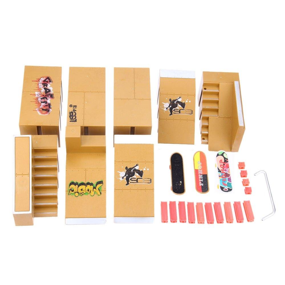 BISOZER Finger Board Skate Park Kit, 8PCS Mini Games Skate Park Kit Ramp Parts for Tech Deck Finger Skateboard Ultimate Parks Training Props by BISOZER-Toy (Image #7)