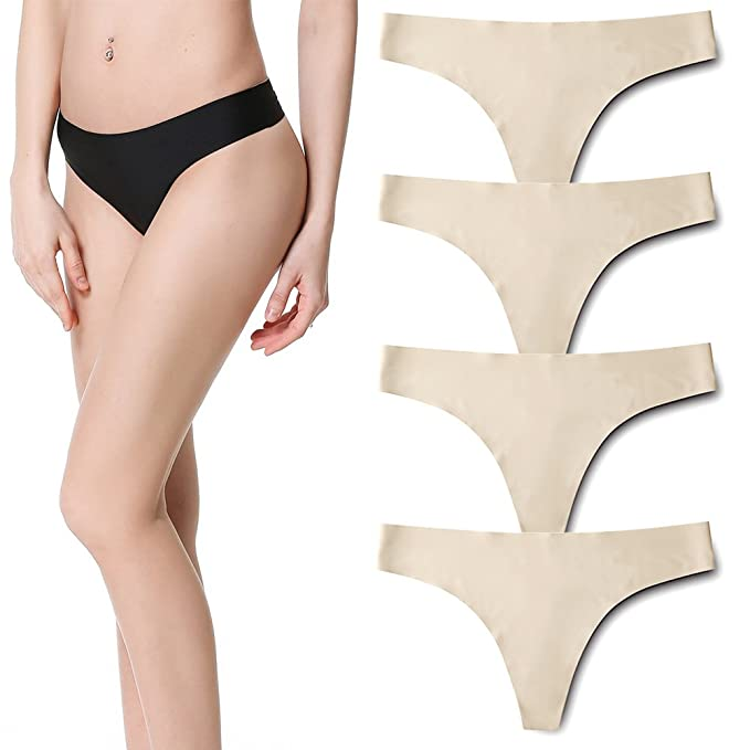 de889737b80 SEEKAY Womens Seamless Thongs Invisible Soft Ice Silk Panty No Show Underwear  Pack of 4