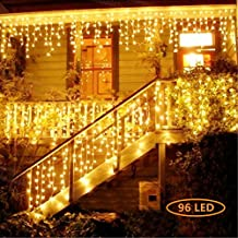 Jefferson LED Icicle Lights Warm White Patio fairy String Lights Outdoor Christmas Lights Outdoor Holiday Icicle Lights Curtains Lights Starry Lights with 8 Models(13ft,96 LEDs) (Warm White-96)