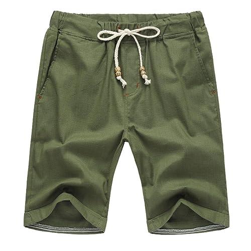 YULAND Herren Shorts, Bekleidung Männer Sommer Leinen Baumwolle Solid Beach Casual Elastische Taille Klassische Fit Shorts