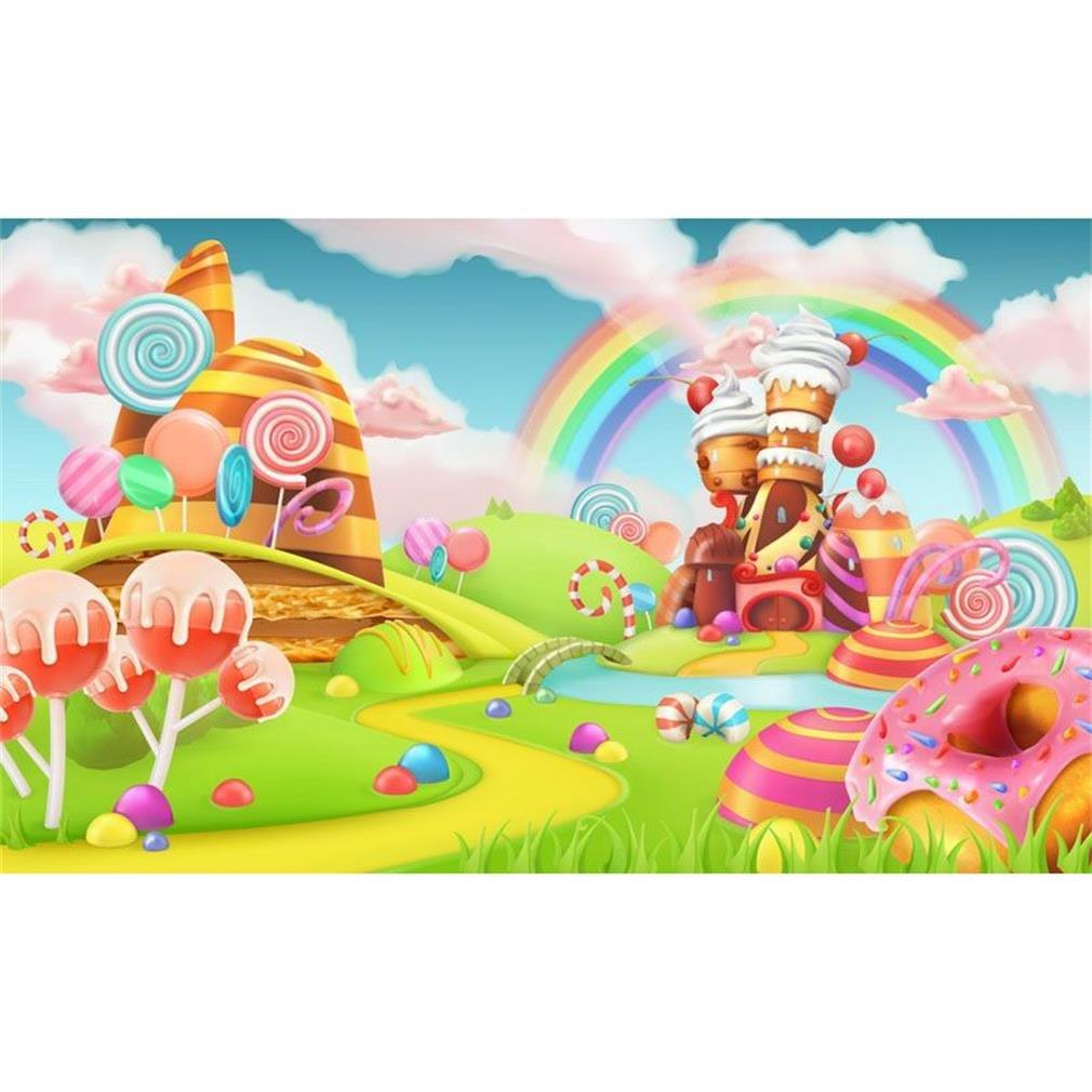Amazon.com : 7x5ft Castle Kids Photocall Rainbow Candy ...