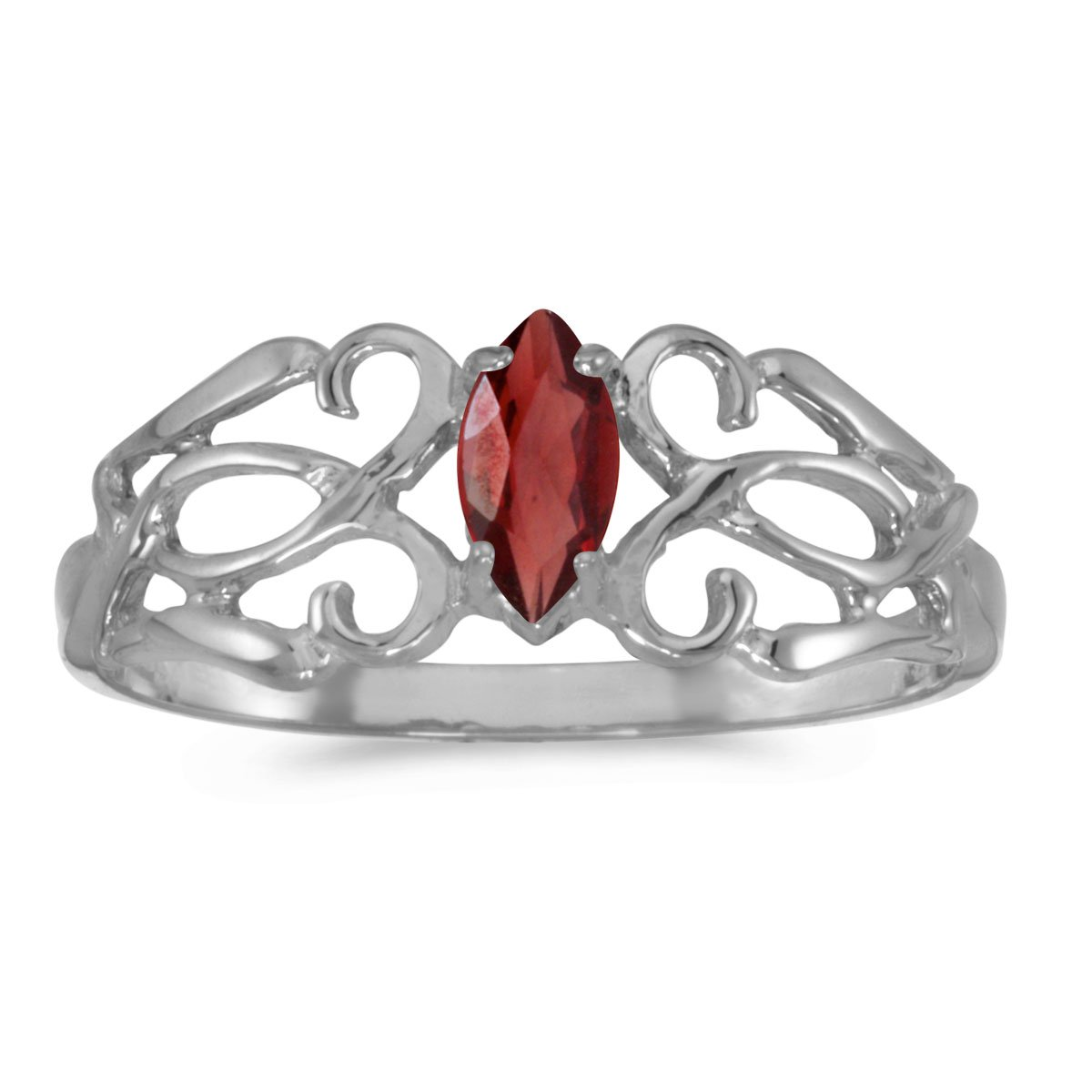 Jewels By Lux 14k White Gold Genuine Red Birthstone Solitaire Marquise Garnet Filagree Wedding Engagement Ring - Size 5.5 (1/4 Cttw.)