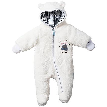 Bebé Ropa de Invierno Traje de Nieve Fleece Peleles con Capucha Espeso Footed Mameluco, Blanco
